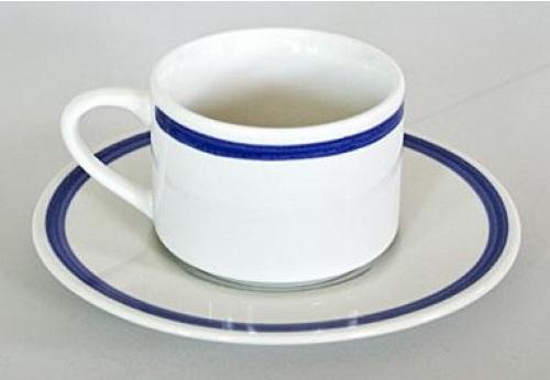 ugostiteljska solja za crnu kafu sa plavom bordurom