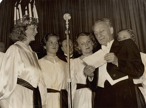 Albert Szent-Gyorgyi at the Santa Lucia feast in Stockholm, Sweden, on 13 December 1937